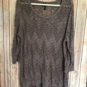 {Maurices} Mauve 3/4 sleeve crochet knit top
